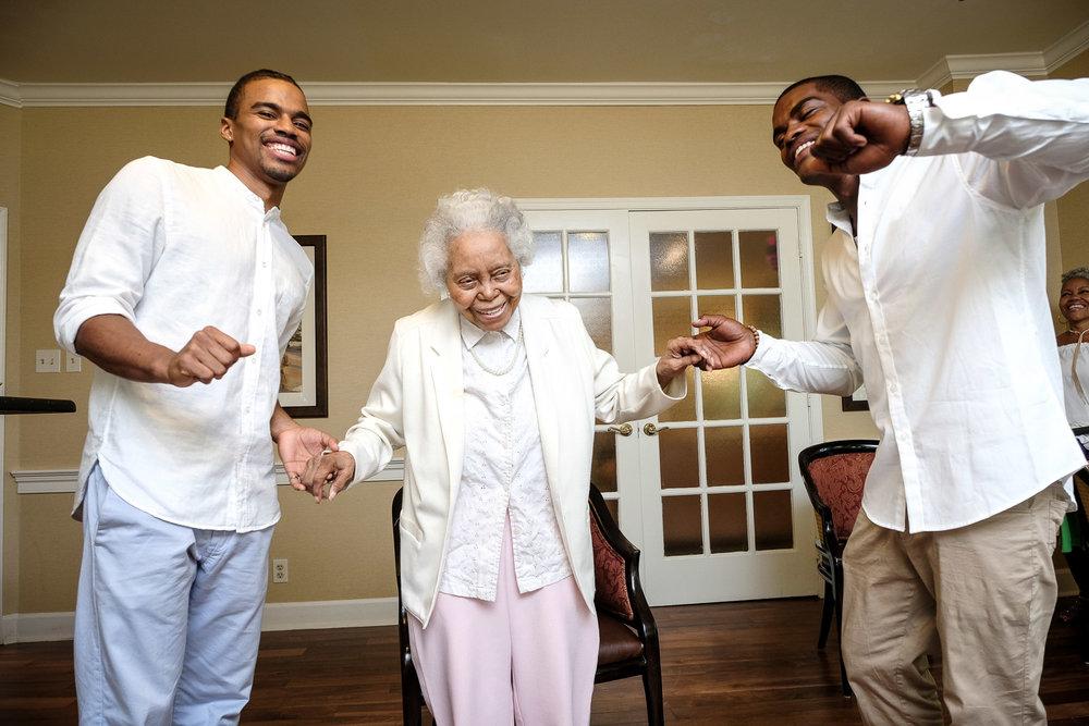 Gettin' down with grandma. Go 'head, fellas!