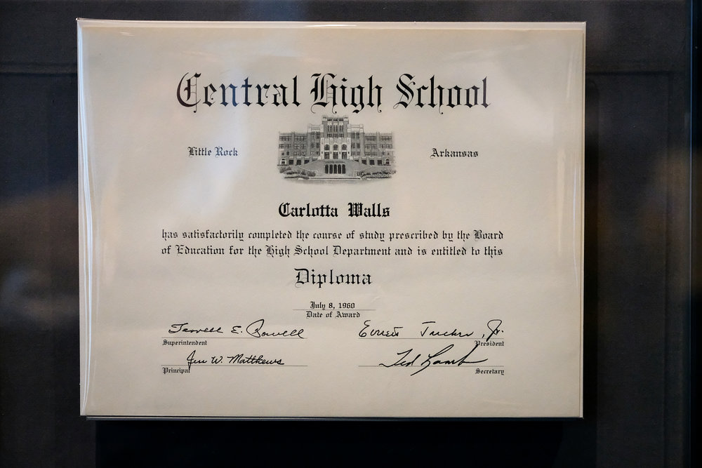 Diploma for Carlotta Walls from Little Rock Central High School. Carlotta Walls LaNier was the youngest of nine high school students, known as the Little Rock Nine, who integrated the formerly all-white Central High School in Little Rock, Arkansas, in 1957.