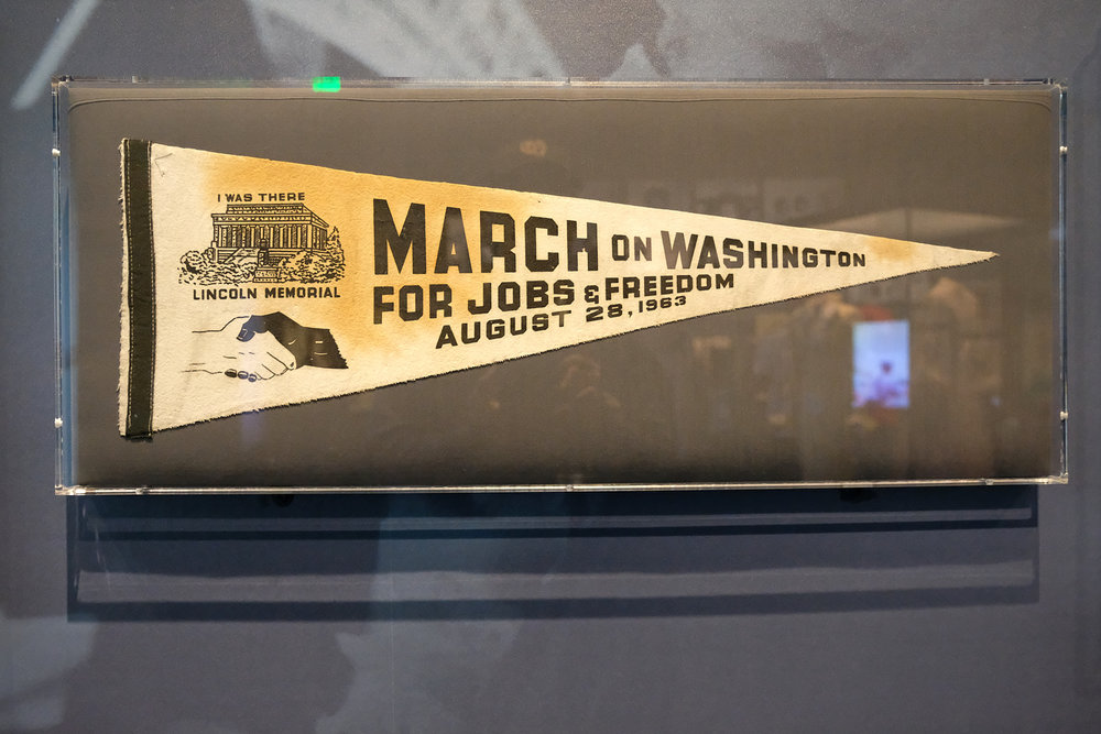 Pennant from the March on Washington for Jobs and Freedom in 1963. Twelve-year-old Edith Lee-Payne traveled from Detroit, Michigan with her mother to attend the march. She saved this pennant as a cherished memento of the historic event.