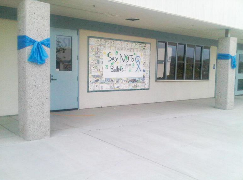 The hallway where Daniel was bullied, two years after his death. Students are now combatting bullying with kindness.