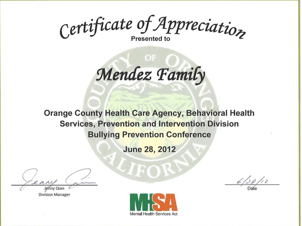 Orange County Health Agency thanks the Mendez Family for presentations at the Bullying Prevention Conference.