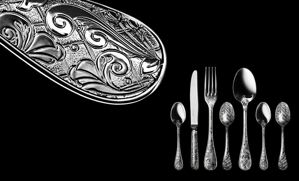 Jardin d'Eden, silverware, Christofle.