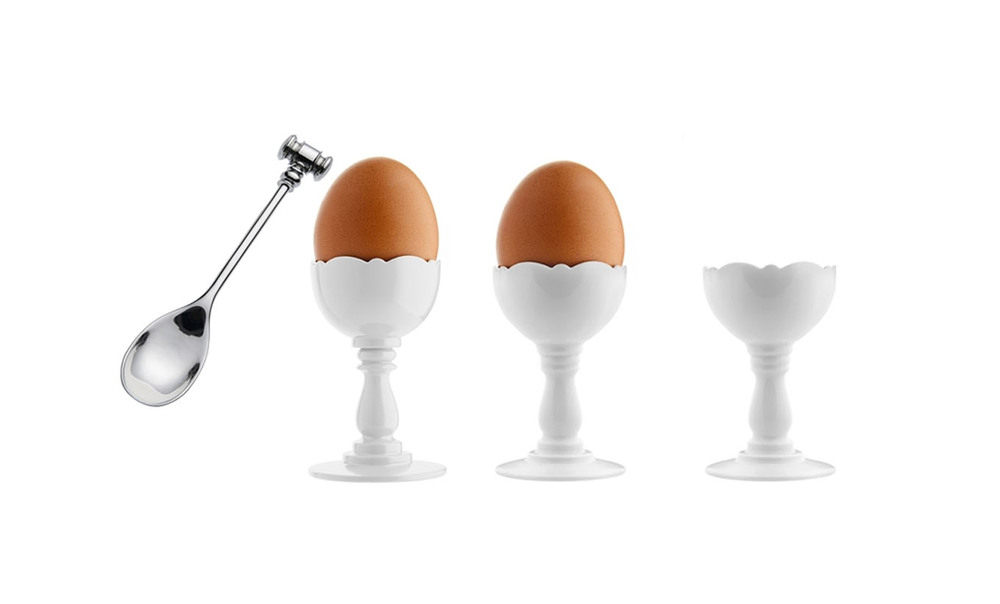 Dressed, egg cup and spoon,   Alessi.