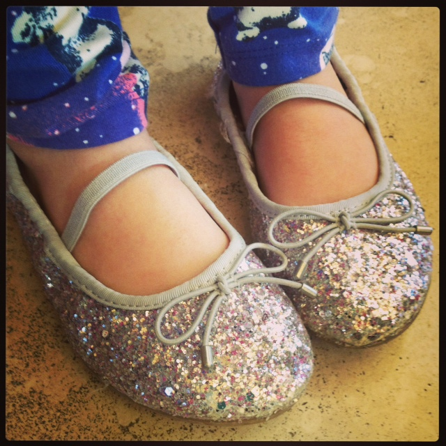 Emerson's sparkly soles (Thank you,   Sam Edelman)