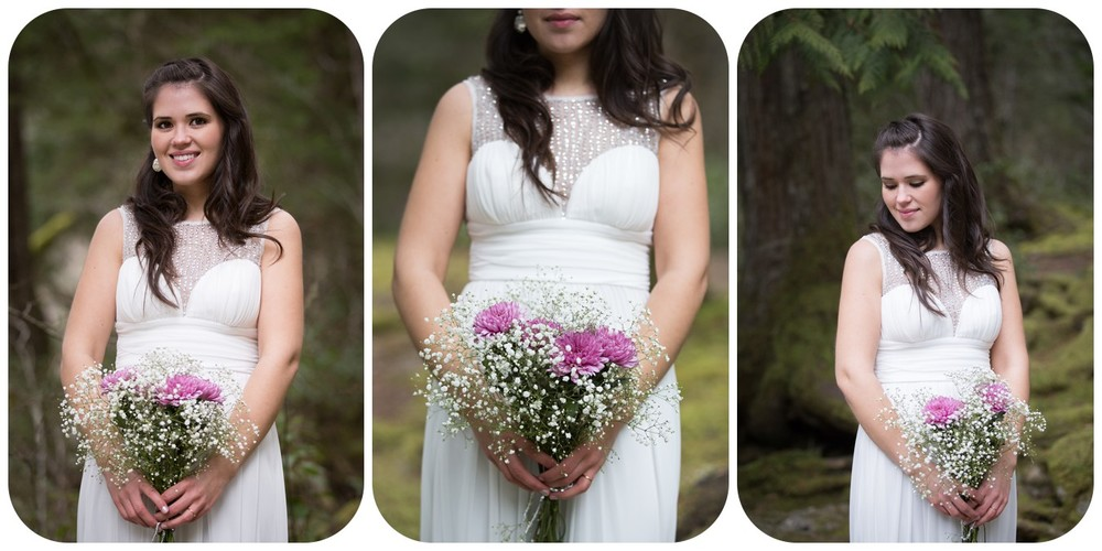 bridal portraits, bridal bouquet photos, englishman river falls elopement bridal portait, vancouver island bridal portrait photographer