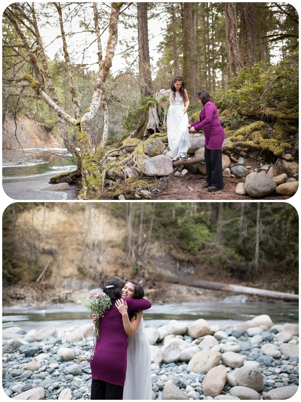 bride hugs mom before marrying groom, whimsical wedding entrance, whimsical parksville photographer