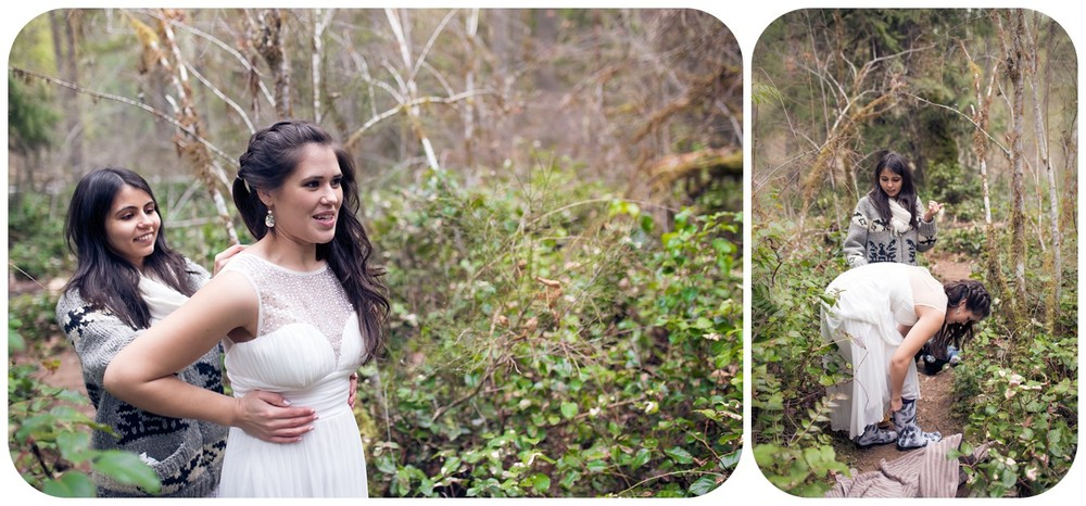 bride gets into wedding dress in forest setting, whimsical parksville bc elopement photographer