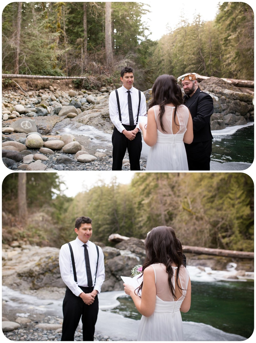 vows being read at elopement ceremony, englishman river falls wedding