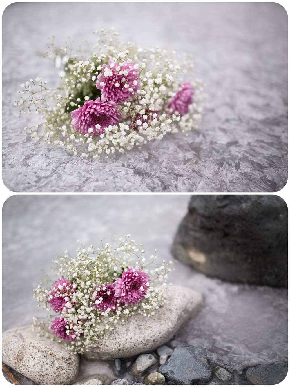 DIY babys breath wedding bouquet, bridal bouquet on ice, romantic bouquet photos, wedding details, parksville bc wedding photographer