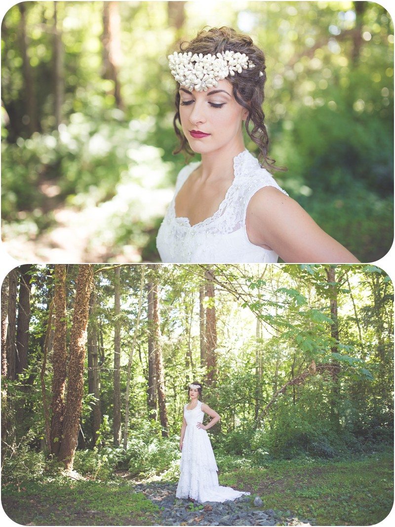 romantic lace gown, bridal session in forest, boho bridal session, romantic wedding photography, bold beaded headpiece, wedding hair and makeup, nanaimo colliery dam, nanaimo bc makeup artist, nanaimo wedding photographer, romantic vancouver island wedding photographer, whimsical vancouver island wedding photographer, romantic nanaimo wedding photographer, whimsical nanaimo wedding photographer, nanaimo makeup artist