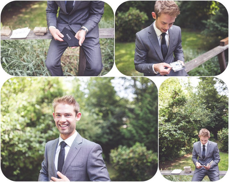 grooms gift, handsome surfer groom, grey suit from moores, romantic wedding gifts, tofino wedding photographer, tofino makeup artist, romantic tofino weddings, ucluelet, west coast weddings,