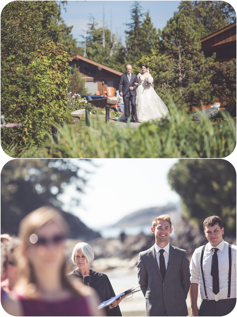 here comes the bride, first look, crystal cove resort wedding, chesterman beach tofino wedding, rustic beach wedding photographer, beach wedding, ucluelet wedding, tofino wedding photographer, tofino makeup artist, romantic tofino weddings, ucluelet, west coast weddings,
