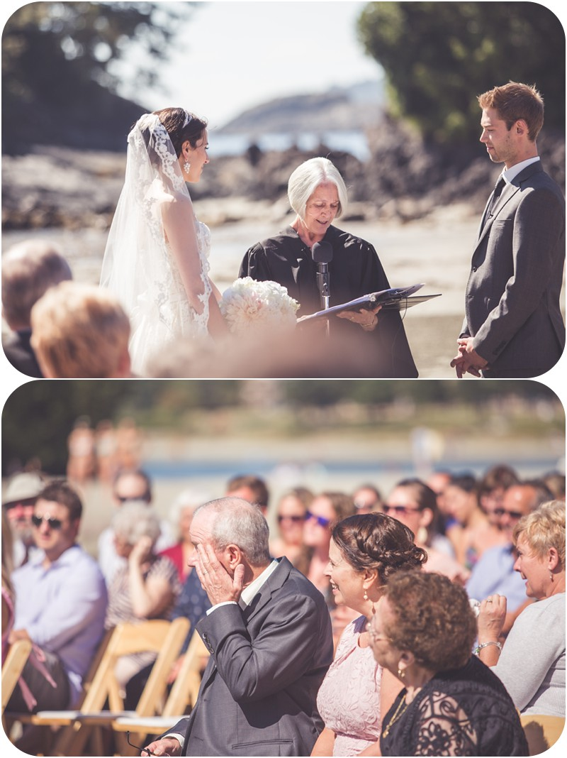emotional dad at wedding, vows on the ocean, tofino wedding vows, intimate tofino wedding, intimate beach wedding, crystal cove resort wedding, chesterman beach tofino wedding, rustic beach wedding photographer, beach wedding, ucluelet wedding, tofino wedding photographer, tofino makeup artist, romantic tofino weddings, ucluelet, west coast weddings,
