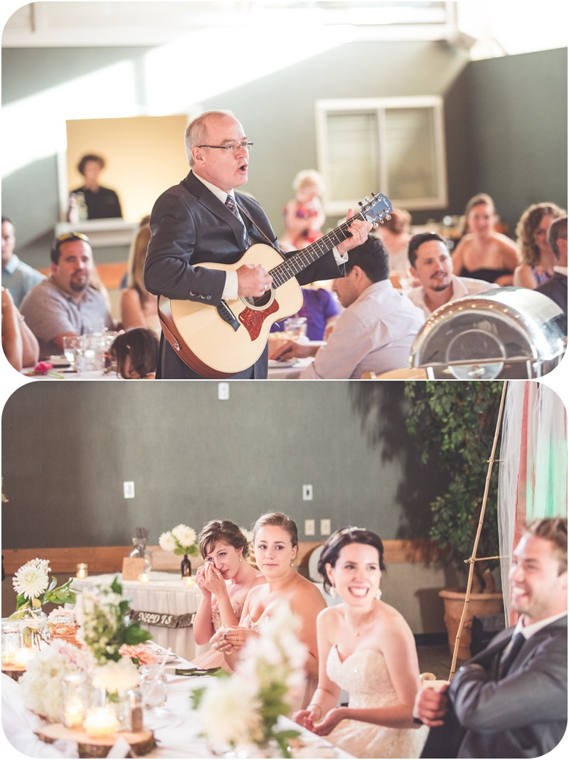 dad sings to bride at wedding reception, emotional bridesmaids, DIY bride, DIY wedding decor, Tin wis wedding reception, tofino wedding venues, tofino wedding reception venue, tin wis, tofino bc wedding photographer, romantic tofino bc wedding photographer, tofino makeup artist, romantic beach wedding tofino, candid photographer tofino, rustic wedding tofino bc, makeup artist tofino
