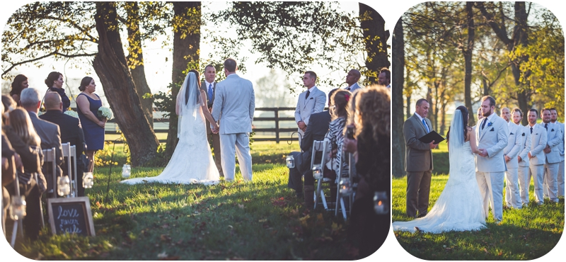 romantic sunset wedding ceremony on farm photos