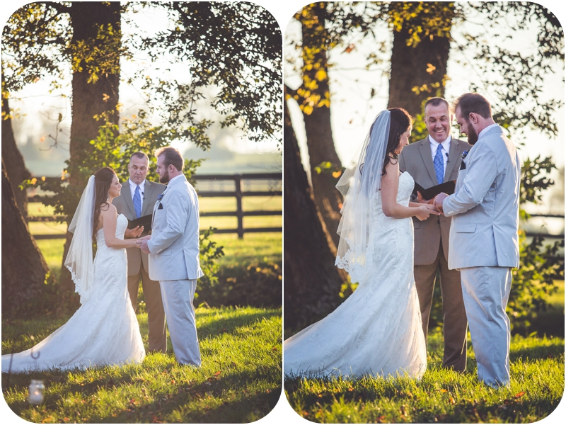 bride and groom say vows during sunset farm wedding ceremony at fasig tipton lexington ky