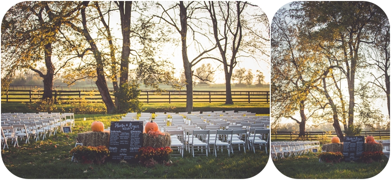 ceremony setup for lexington kentucky sunset farm wedding