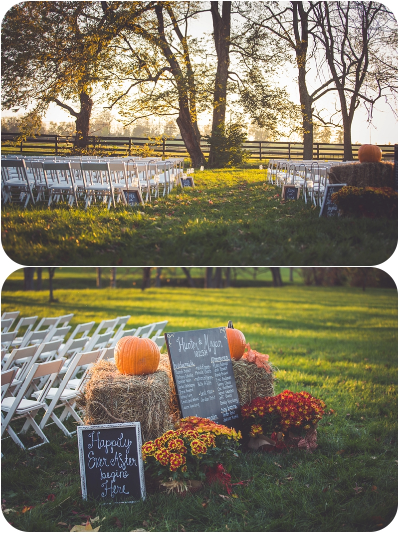 rustic ceremony setup for lexington kentucky sunset fasig tipton farm wedding