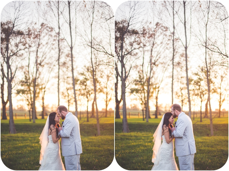 romantic sunset wedding photos at fasig tipton farm