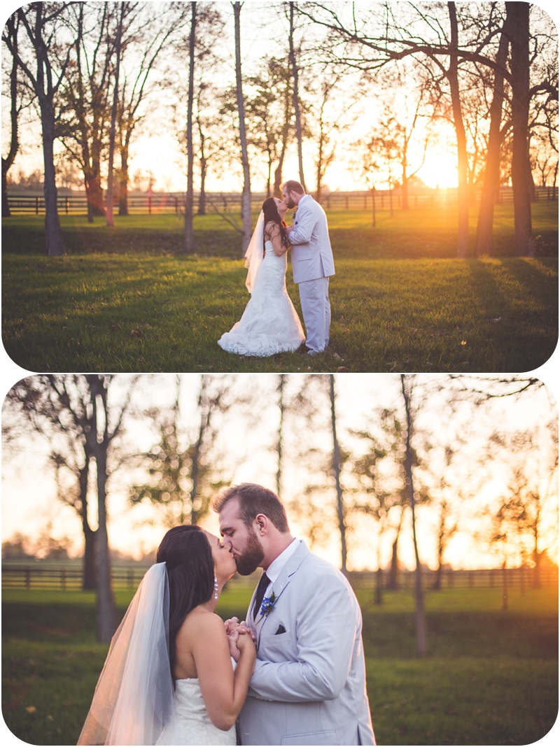 bride and groom kiss at sunset on fasig tipton farm wedding
