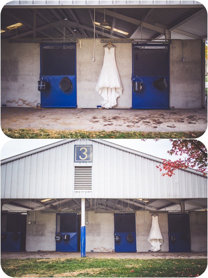 wedding dress hung at barn photos, farm wedding dress photos