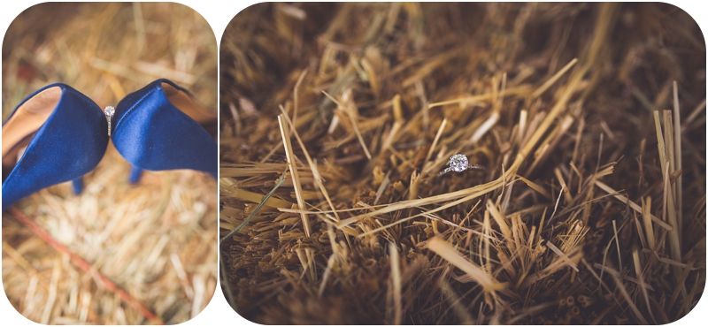 fasig tipton wedding details photos, wedding ring in haybale photos, ring between high heels photos