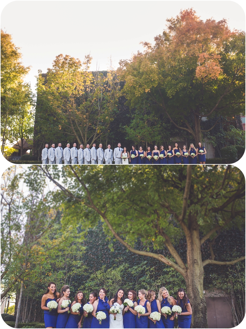 very big bridal party photos at romantic fasig tipton farm wedding