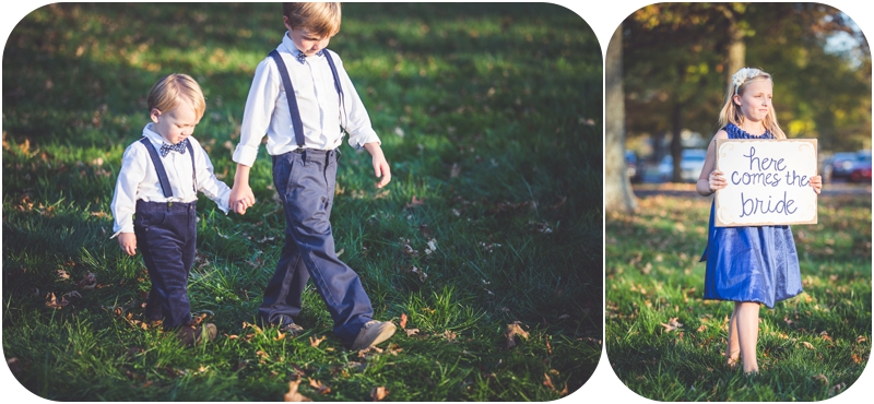 flower girl and ring bearers at romantic fasig tipton farm wedding