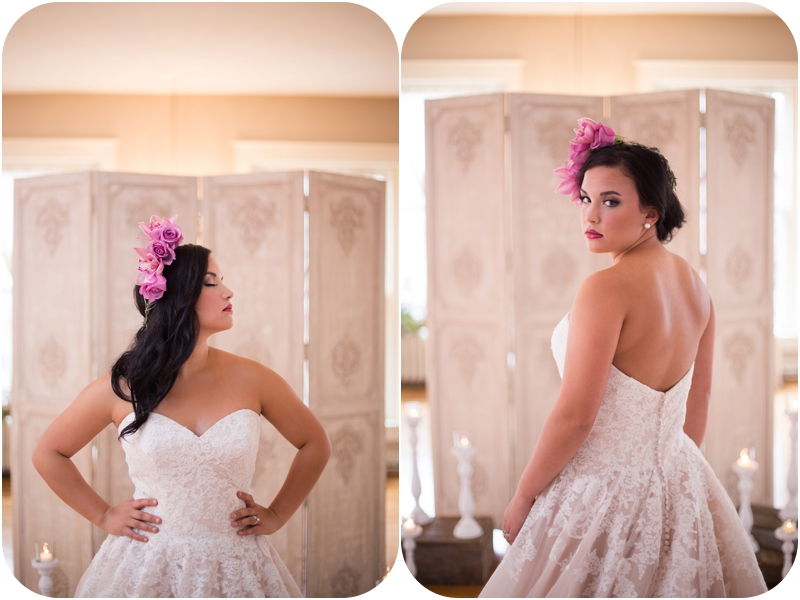 orchid headpiece and mori lee wedding gown for styled bridal session at the loft on spring