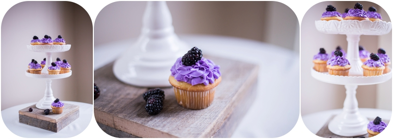 blackberry inspired wedding cupcakes, winter wedding cupcakes, new albany indiana wedding photographer