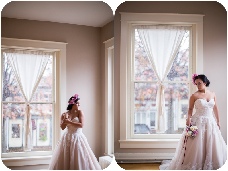 romantic bridal portraits by window, window lit bridal portraits at the loft on spring new albany indiana