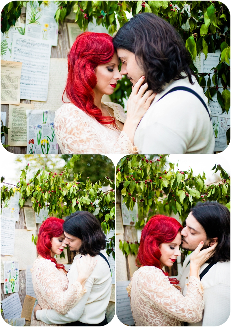 dramatic wedding portraits, red hair bride, ivy covered walls