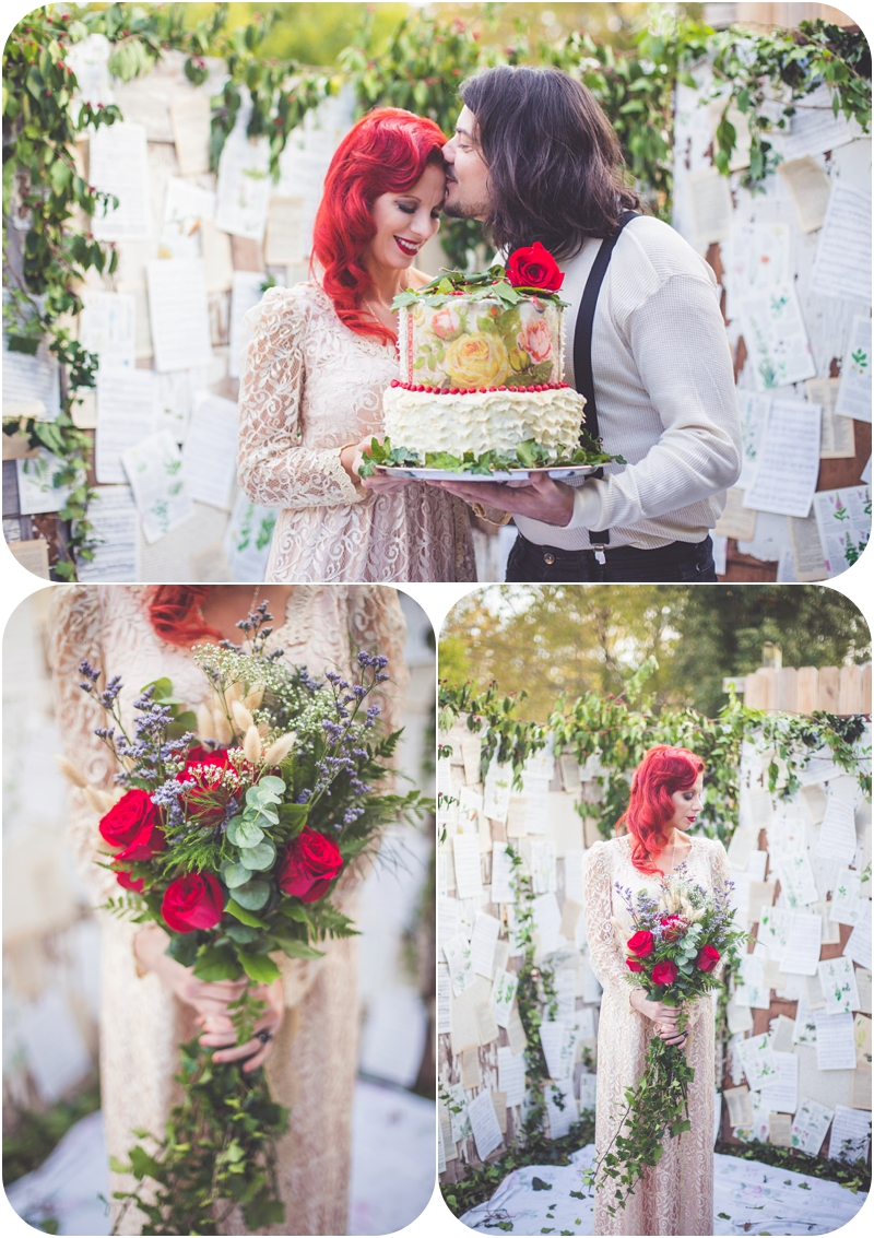 DIY cascading bouquet in moulin rouge inspired elopement