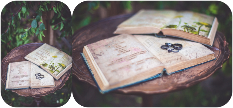diy wedding vows in vintage book with wedding rings
