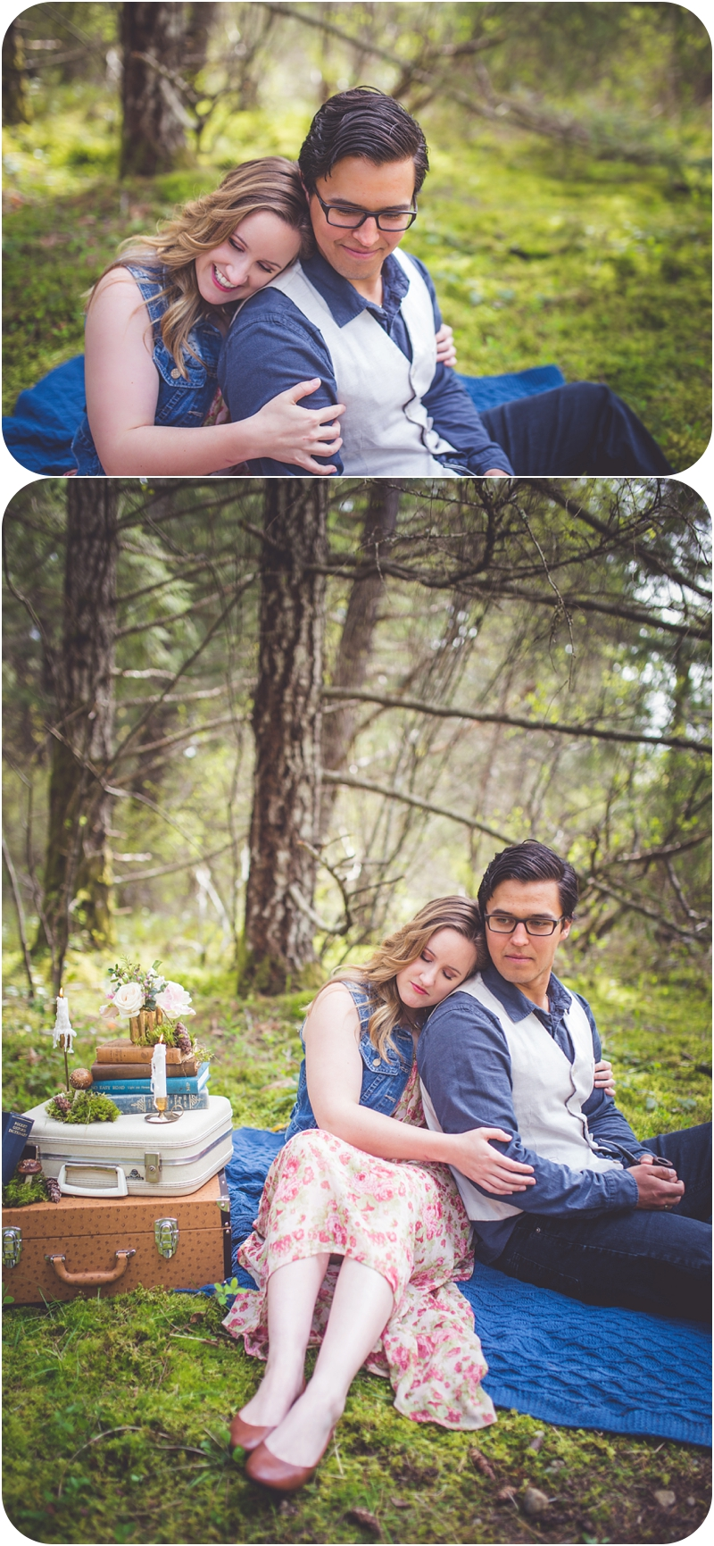 romantic forest picnic for two, qualicum beach bc portrait photographer