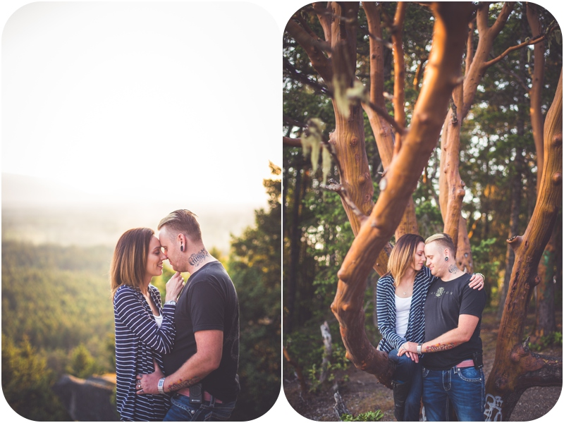 Romantic pacific northwest engagement photos on a mountain and with arbutus trees