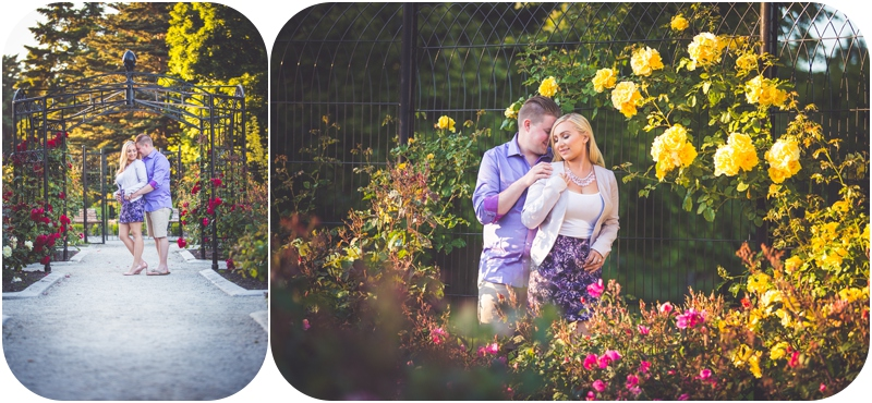 romantic engagement photos at rose garden in beacon hill park victoria bc