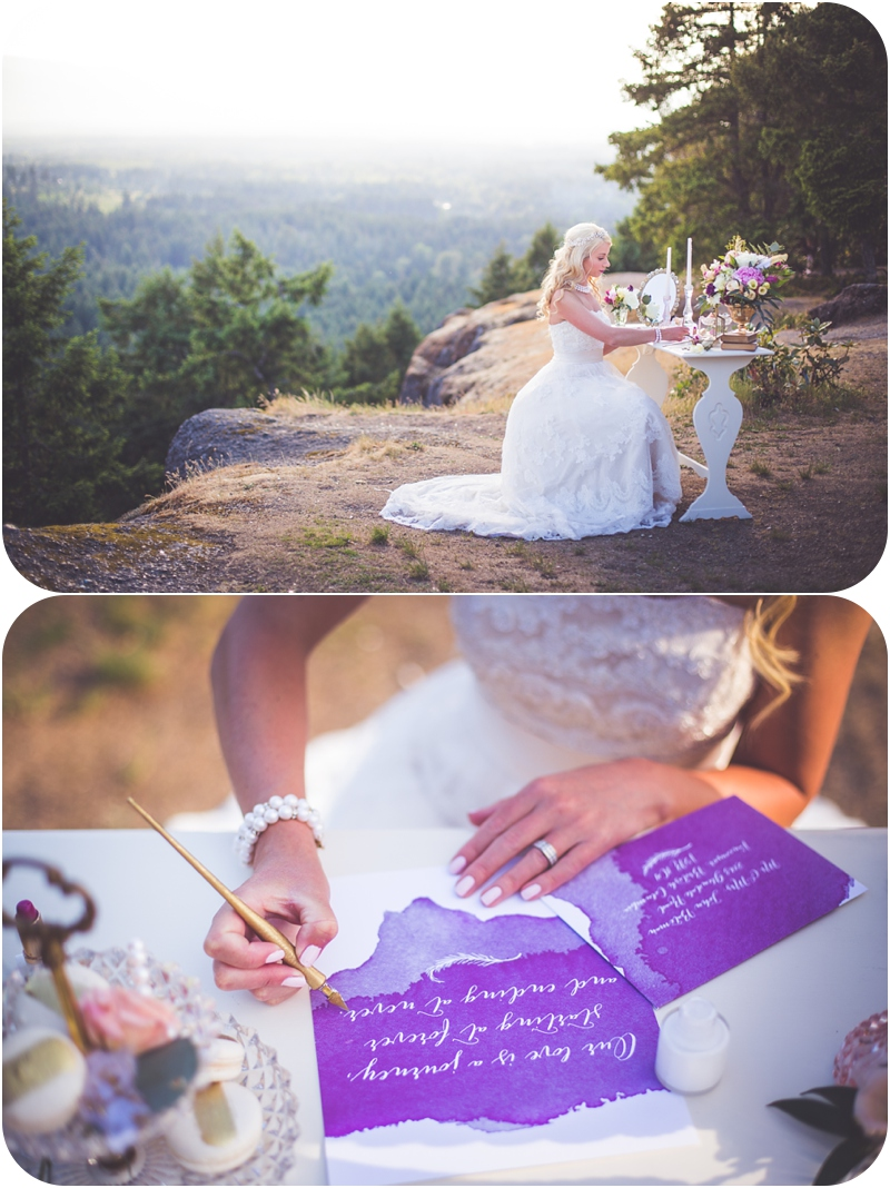 bride writes calligraphy vows on watercolour stationary at little mountain
