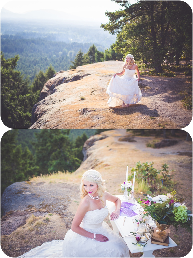 bride dancing on a mountaintop and writing her vows