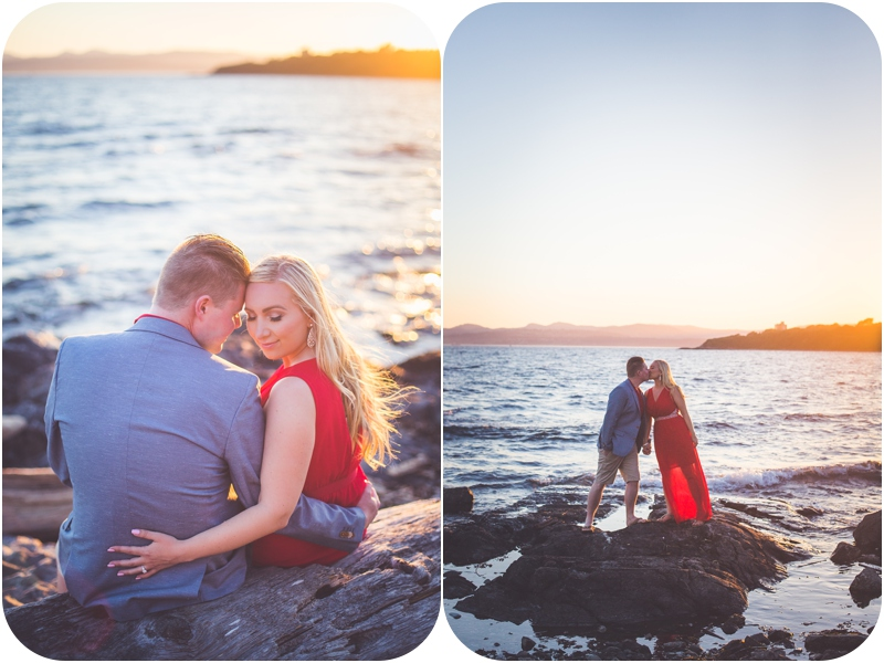 romantic sunset engagement photo on the ocean in victoria bc