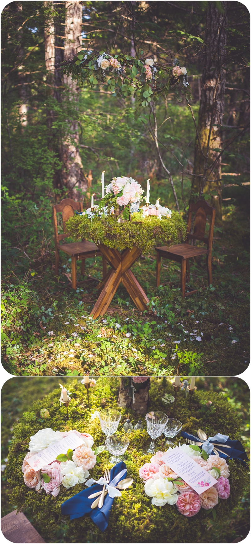 whimsical table setup for two for forest elopement