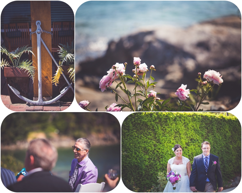 ceremony decor for oceanview wedding at beachside b&b wedding venue ladysmith bc