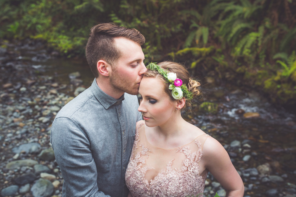 romantic forest engagement photos qualicum beach