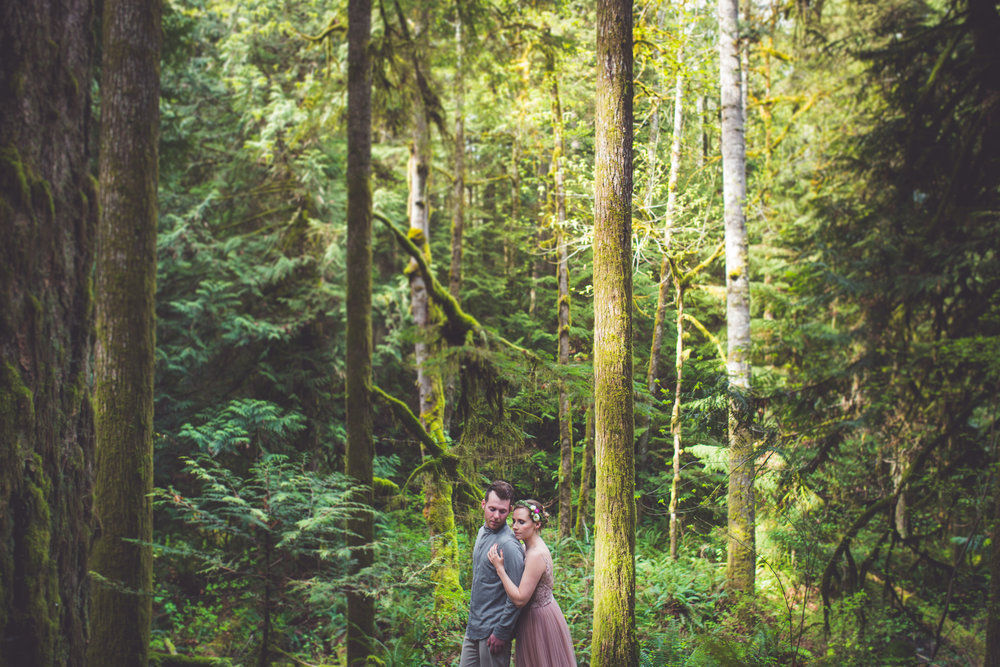 wide shot in forest for engagement photos vancouver island