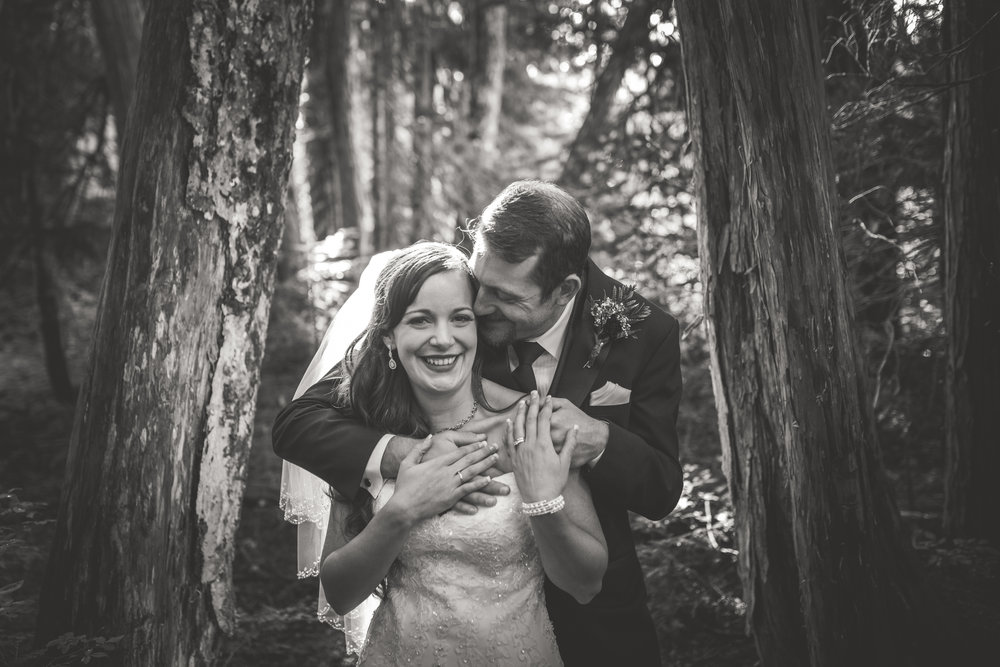 happy bride and groom in black and white photo