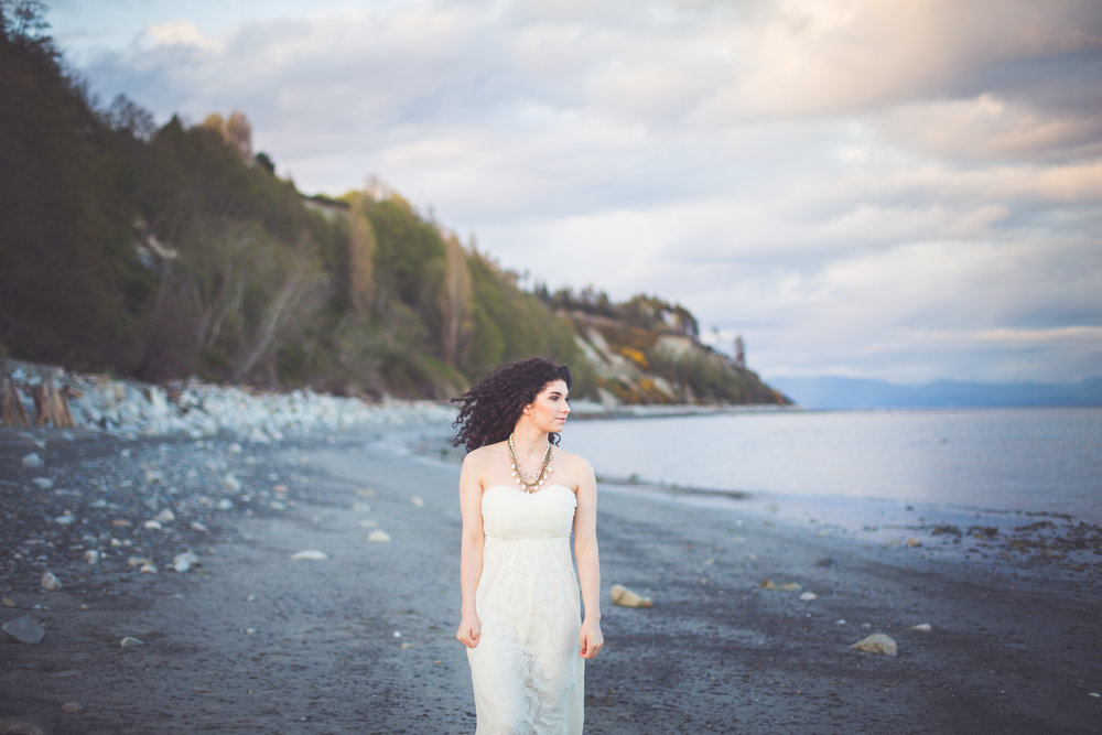 bride at comox bc beach