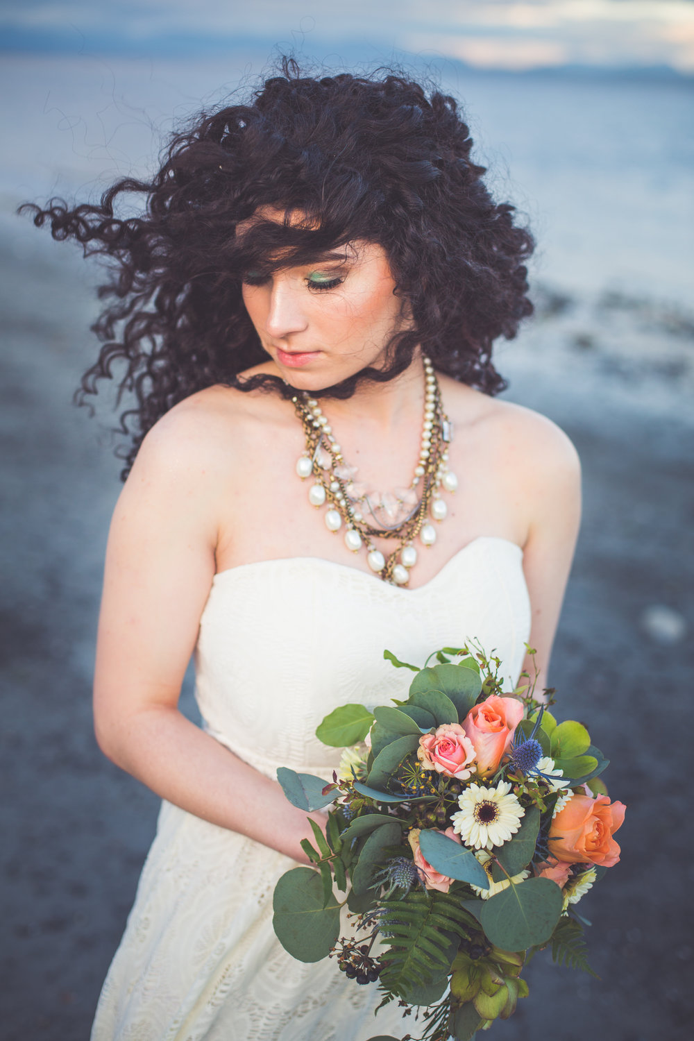windblown hair on bride