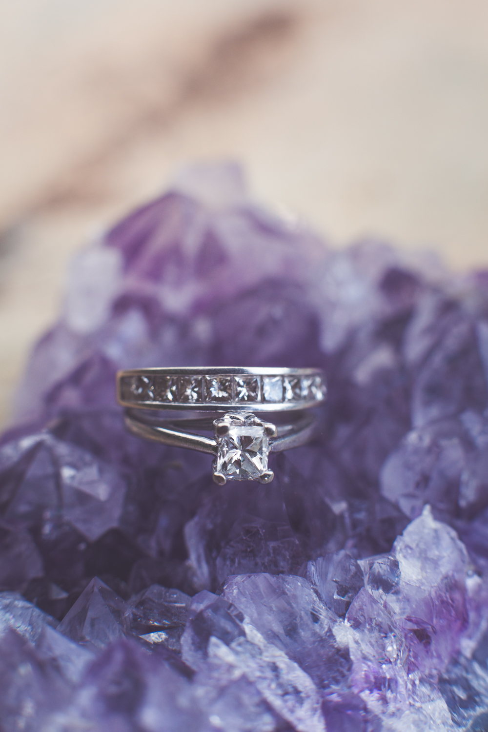 ring photographed on amethyst