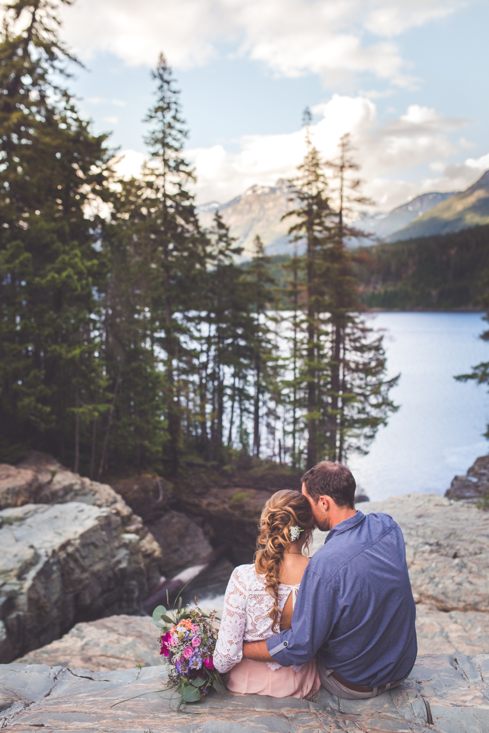 myra falls and buttle lake in strathcona park wedding