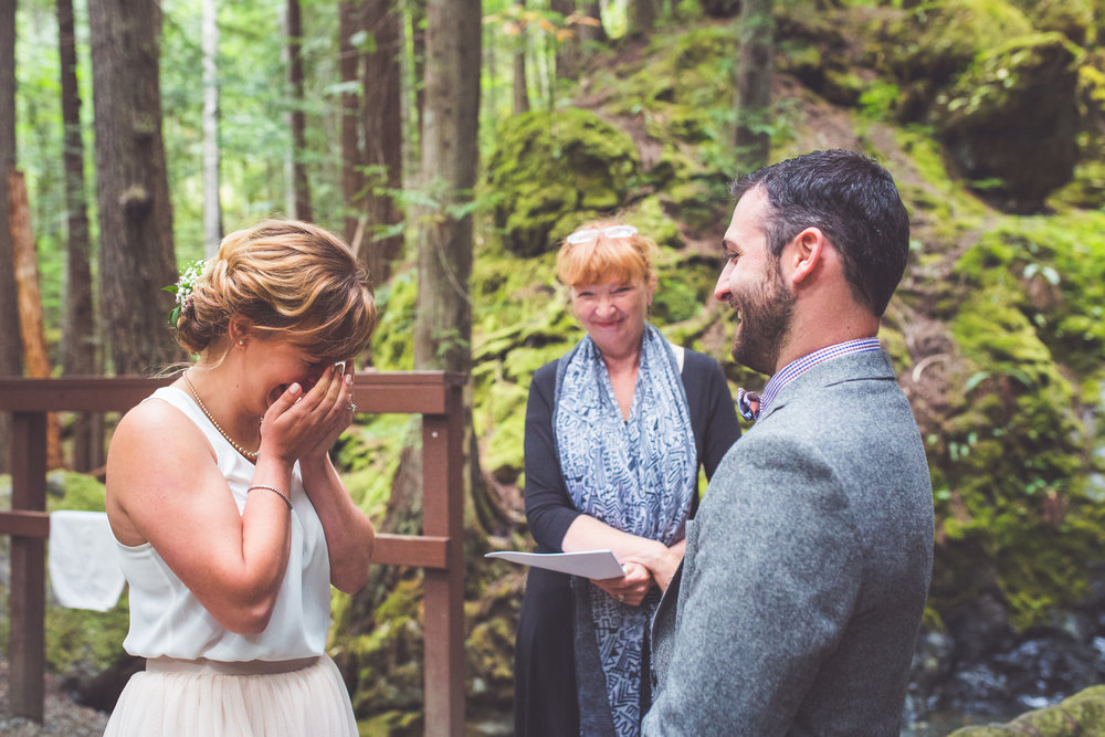 emotional bride at lupin falls in strathcona provincial park